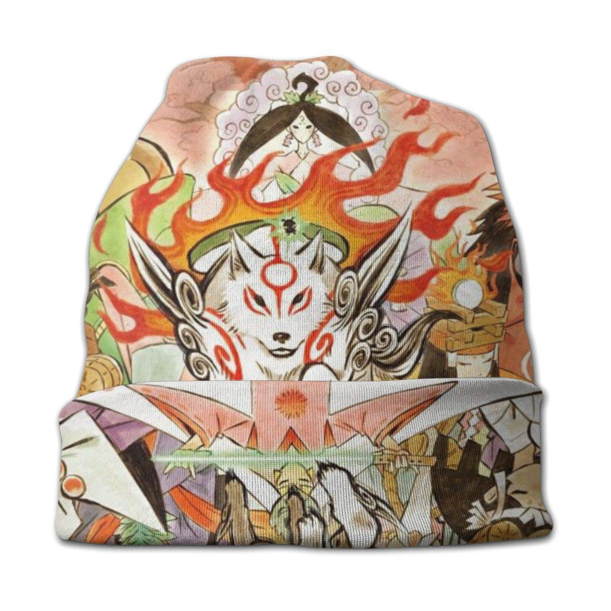 Okami Boys and Girls Anime Cartoon Beanie Hat Thin Beanie for Kids for Indoor Outdoor Festival Holiday Party and Thanksgiving Gifts Black