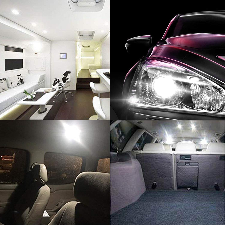 AOKEzl 10 x T10 RV Trailer 921 192 168 194 175 3014 42-SMD 12V Car Backup Reverse Interior Dome Map Width Lamp LED Bulbs Xenon White