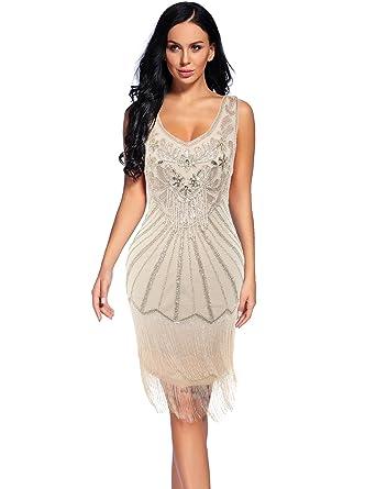 Womens 1920s V Neck Flapper Dress Sequin Embellished Gatsby Tassels