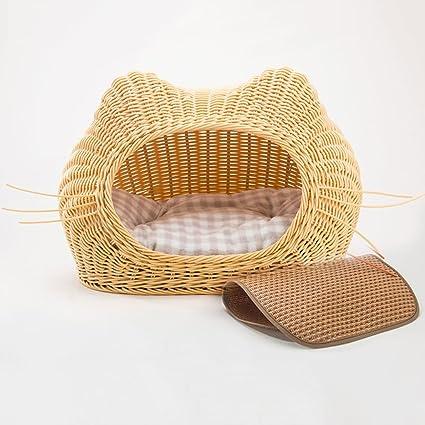 Sábana para gatos de ratán casa de gato cerrada para el verano cama para gatos cama