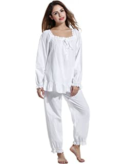 Avidlove Womens Cotton Pjs Victorian Vintage White Long Sleeve Pajama Set  Sleepwear f62e3ce09