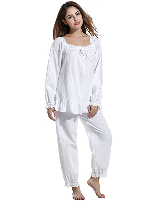 Vintage Inspired Nightgowns, Robes, Pajamas, Baby Dolls Avidlove Womens Cotton Pjs Victorian Vintage White Long Sleeve Pajama Set Sleepwear $32.99 AT vintagedancer.com