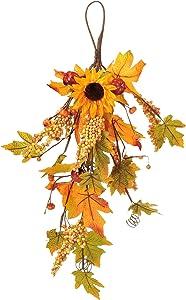 M2cbridge Artificial Floral Swag Wreath Garden Flower Teardrop for Door Entryway Wedding Arch Party Decor (Golden Autumn)