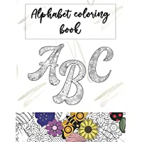 Alphabet coloring book: 37 letters and numbers for adults and kids to color. One letter per page.