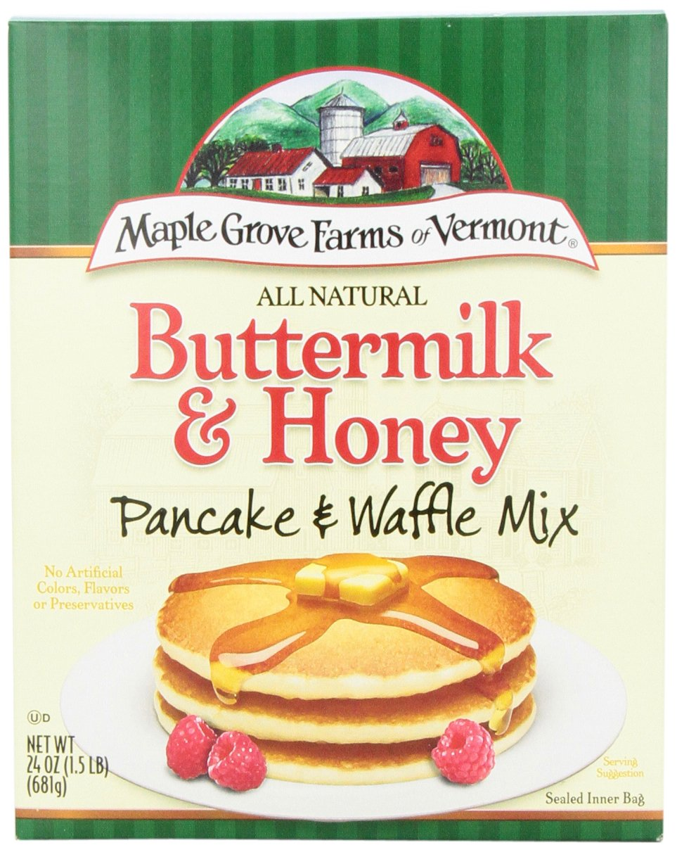 Maple Grove Farms Pancake Mix Buttermilk & Honey, 24-Ounce (Pack of 6)