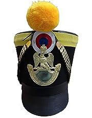 warreplica French Napoleonic Shako Helmet, Shako Helmet with Black Felt and Yellow Cloth Banding - Reproduction