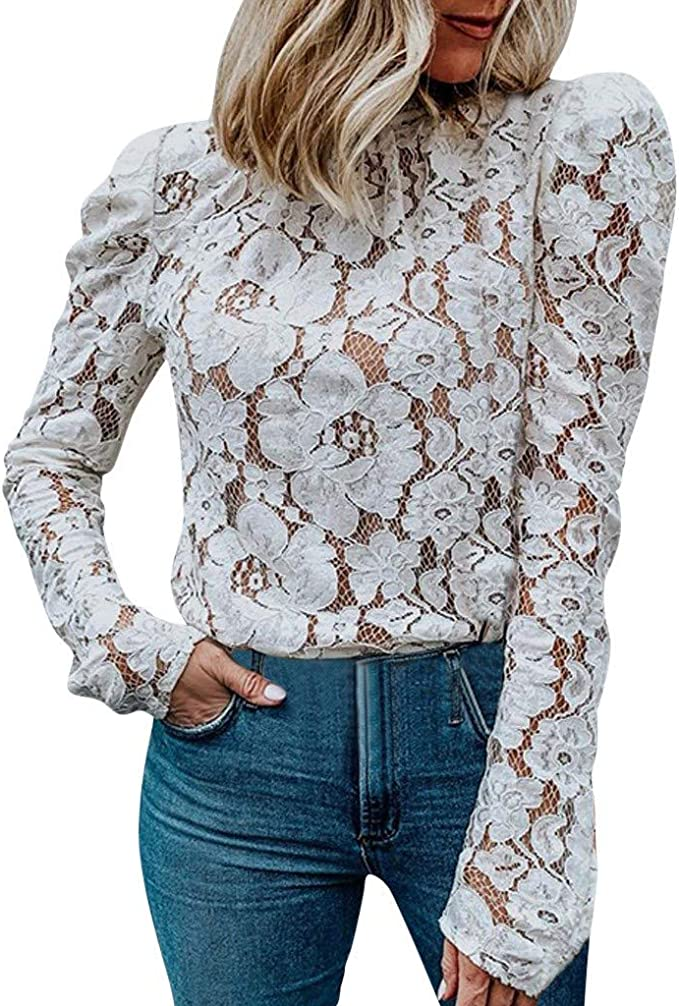 Reooly Señoras de Las Mujeres de Encaje Casual O Cuello Camiseta ...