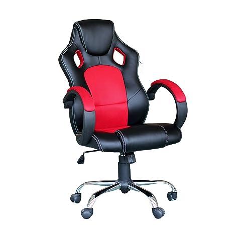 EBS Silla Gaming Ejecutiva Giratoria Altura Ajustable Oficina Escritorio con Diseño ergonómico Respaldo Alto Reposabrazos Tapizado PU y Malla Base ...