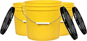 House Naturals 2 Gal Yellow Bucket with lid for Cleaning Food Grade Plastic Small Water Paint Container (Pack of 3)