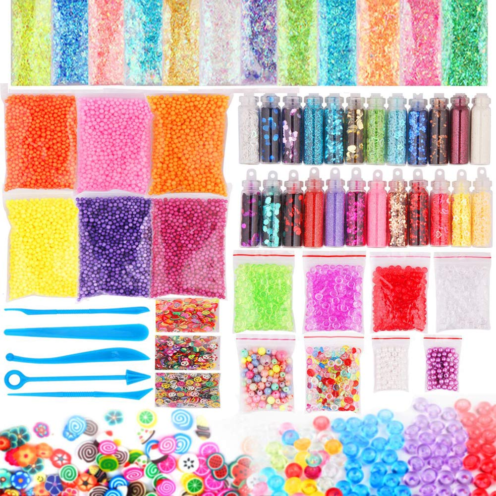 Slime Supplies Kit DIY Slime Making Kit Include Slime Foam Beads Confetti Star and Heart Sprinkles Fruits Slices Accessories(58 Pack) Dushi Trading Co. Ltd