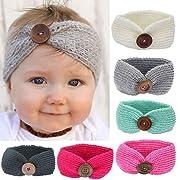 Ecosin Newborn Baby Flower Knitting Hat Beanie Toddler Girls Button Hairband (Gray)