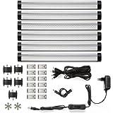 LE 6 lampade LED da 4 W per sottopensili e armadi da 30cm, 300lm 12V DC Luce bianca calda Kit completo