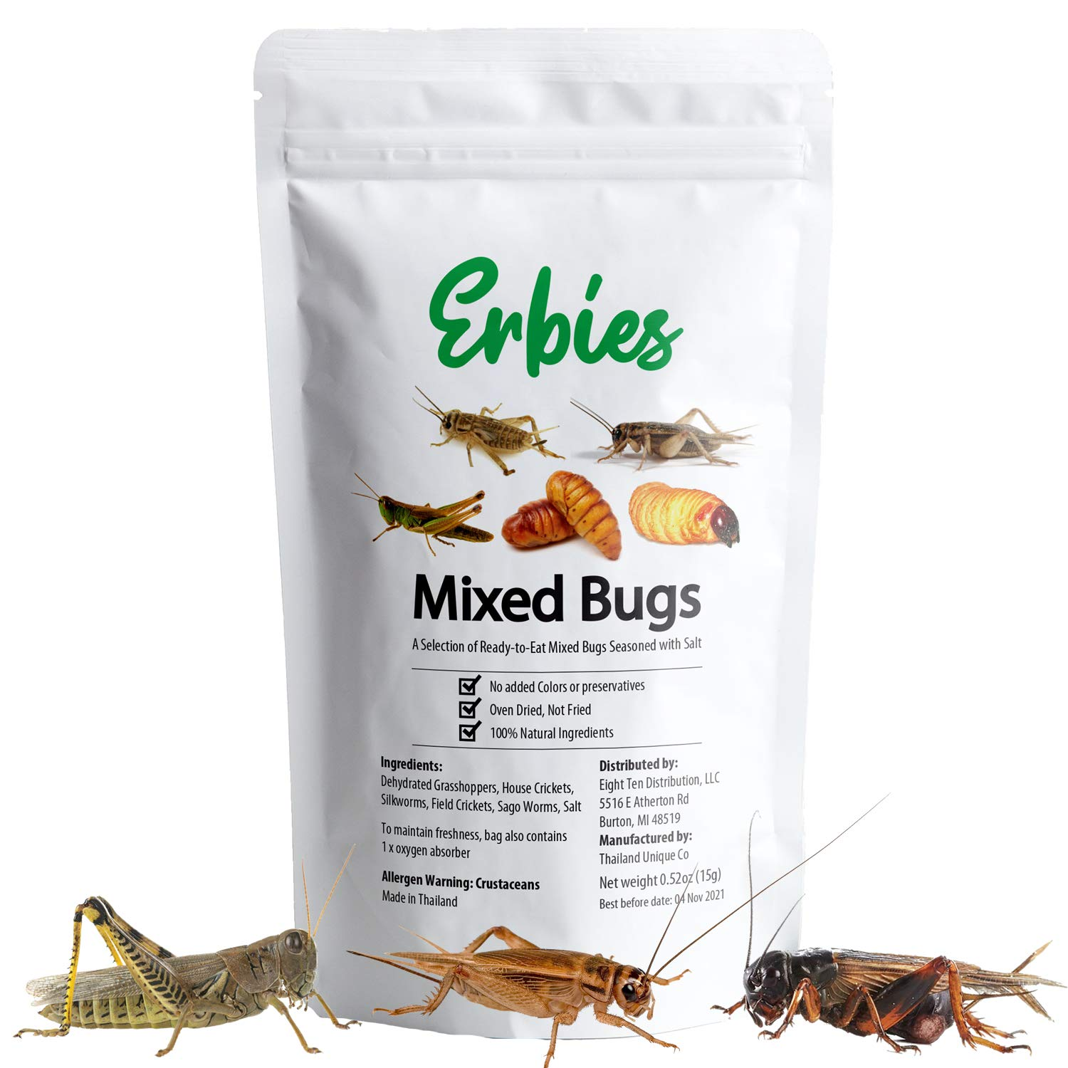 Erbies Edible Bugs Mixed Trail Mix, 15g Bag, Seasoned and Crunchy Insects, Crickets, Grasshoppers, Silkworm Pupae, and Sago Worms, Protein Packed Snack, Fun Gift Idea