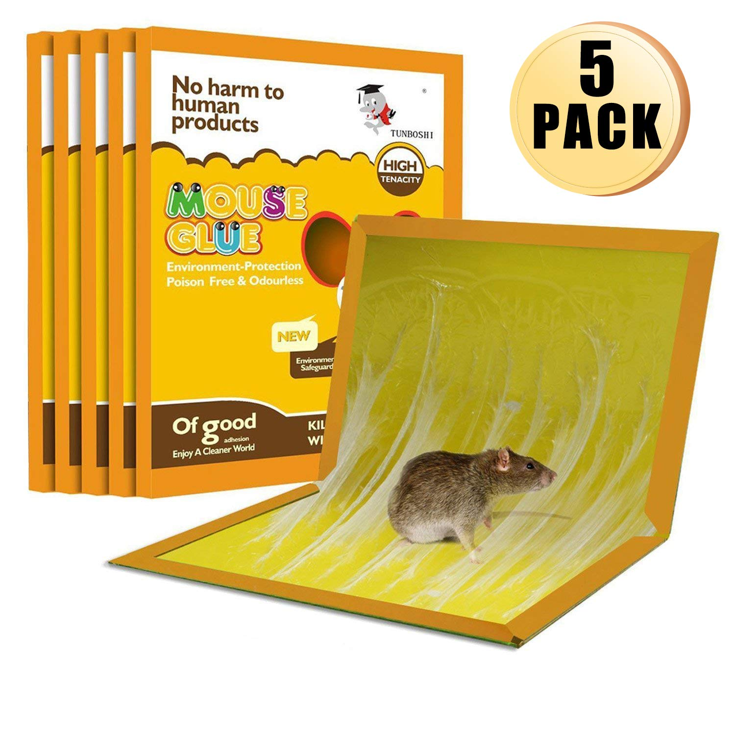 Panamela Mouse Trap,Mouse Rat Glue Boards,Mouse Glue Traps,Mouse Size Glue Traps Sticky Boards Mouse Catcher Mice(5-Pack)