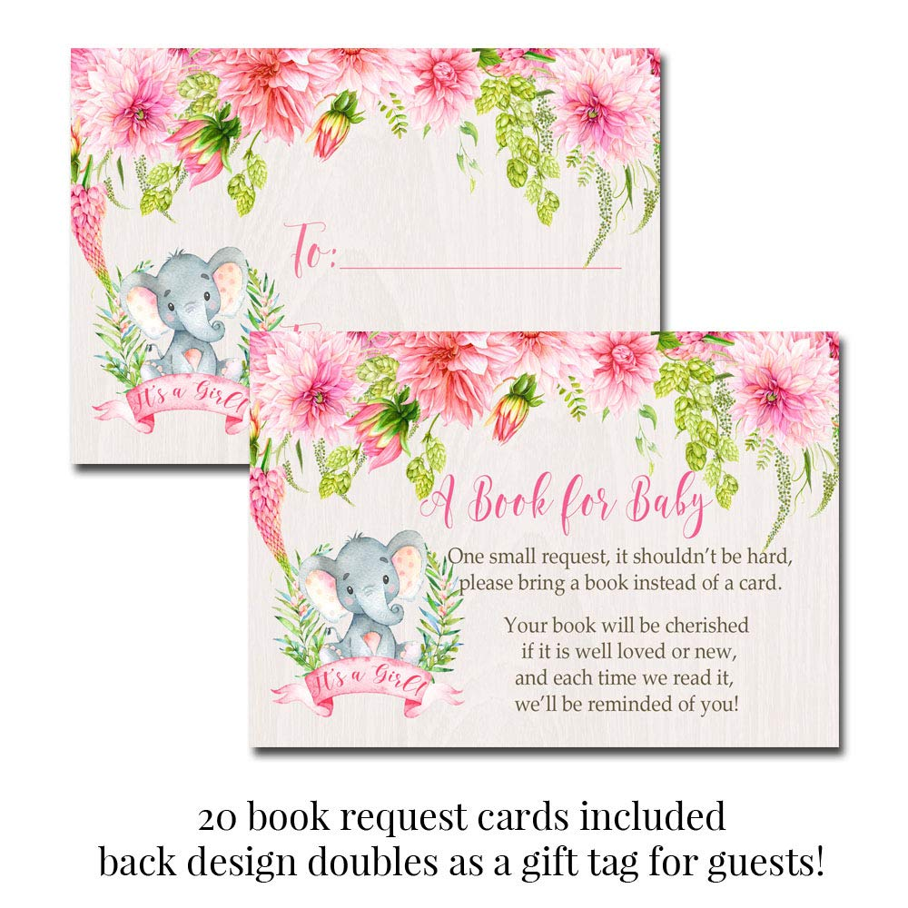 Deluxe Watercolor Floral Elephant Baby Shower Party Bundle for Girls, Includes 20 each of 5''x7'' Fill In Invitations, Diaper Raffle Tickets, Bring a Book Cards, 2'' Thank You Favor Stickers w/ Envelopes by Amanda Creation (Image #3)