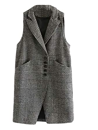 82f987ea613fda Sweatwater Womens Stylish Plaid Lapel Sleeveless Wool-Blend Vest Jackets at  Amazon Women s Coats Shop