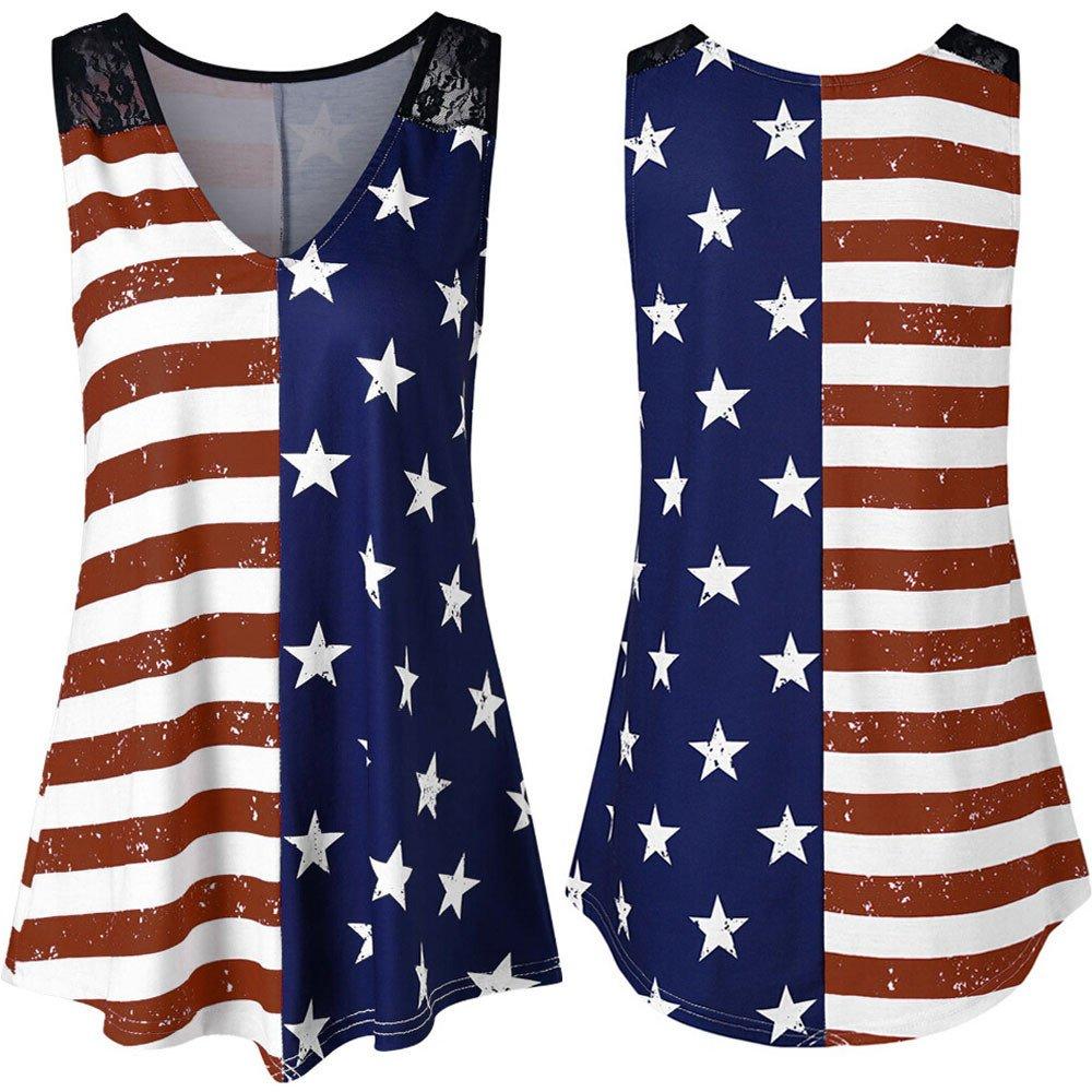 Mysky Fashion Women Summer Casual American Flag Print Tank Tops Shirt Ladies Simple Sleeveless Lace Insert Vest