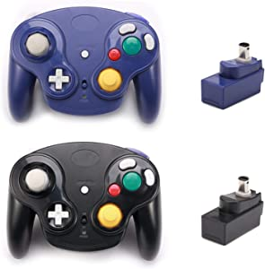 Poulep 2 Packs Classic 2.4G Wireless Controller Upgraded Gamepad with Receiver Adapter for Nintendo Wii U Gamecube NGC GC (Black and Purple)