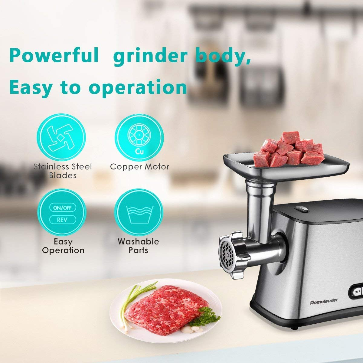 Amazon.com: Homeleader Electric Meat Grinder, Stainless Steel Meat ...