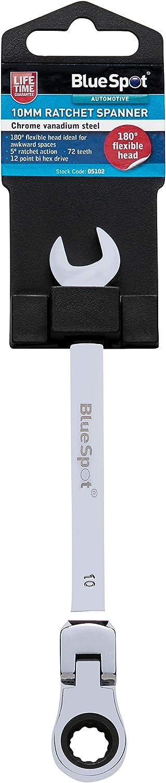 Blue Spot 05102/10/mm Cromo vanadio Chiave a cricchetto Testa Flessibile 180//°