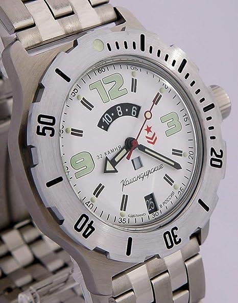 Vostok KOMANDIRSKIE K-35 ruso Militar reloj blanco 2431/350606: Amazon.es: Relojes