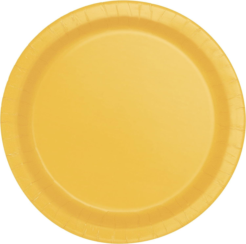 Unique Party - Platos de Papel - 17.1 cm - Amarillo - Paquete de 20 (317.144)