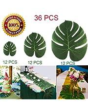 Longloving Artificial Palm Leaves Tropical Imitation Plant Leaves Safari Leaves Hawaiian Luau Party Theme Decorations,Tiki Decoration, Aloha Jungle Beach Birthday Table Decorations