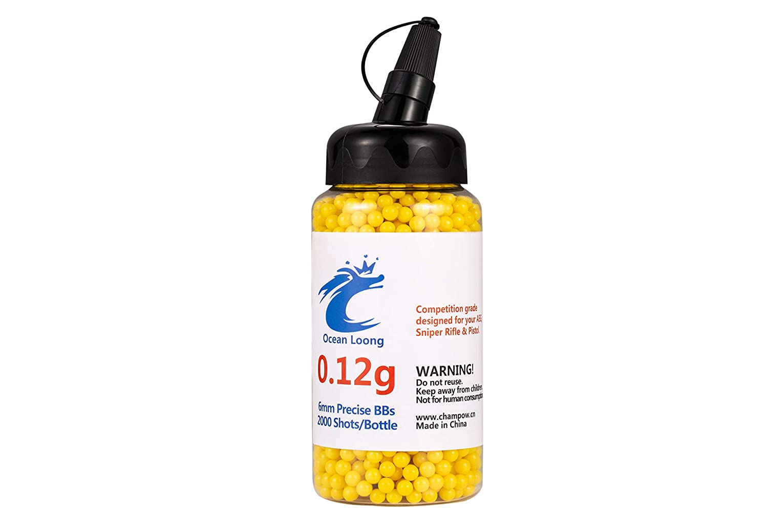 Airsoft BBS 0.12g 6mm 2000 Rounds with an resealable Plastic Bottle/& an Easy-Pour spout,Yellow Airsoft pellets