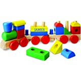 Melissa & Doug Personalized Stacking Train Classic Wooden Toddler Toy (18 Pieces)