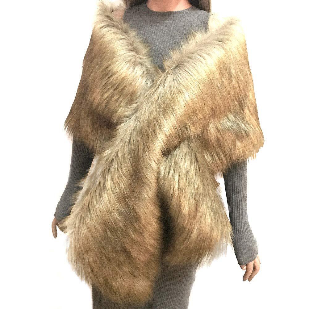 Forart Women Faux Fur Shawl Wrap Stole Shrug Bridal Wedding Warm Coat Poncho Cape