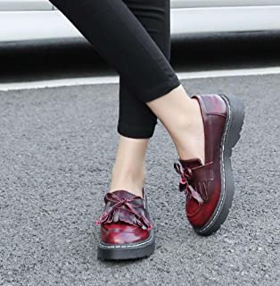 Pump Loafer 3cm Thick Bottem Tassel Slip On Casual Shoes Femmes Round Toe Bowknot Angleterre Style Gradient Color Court Shoes Eu Taille 34-43 ( Color : Wine red )