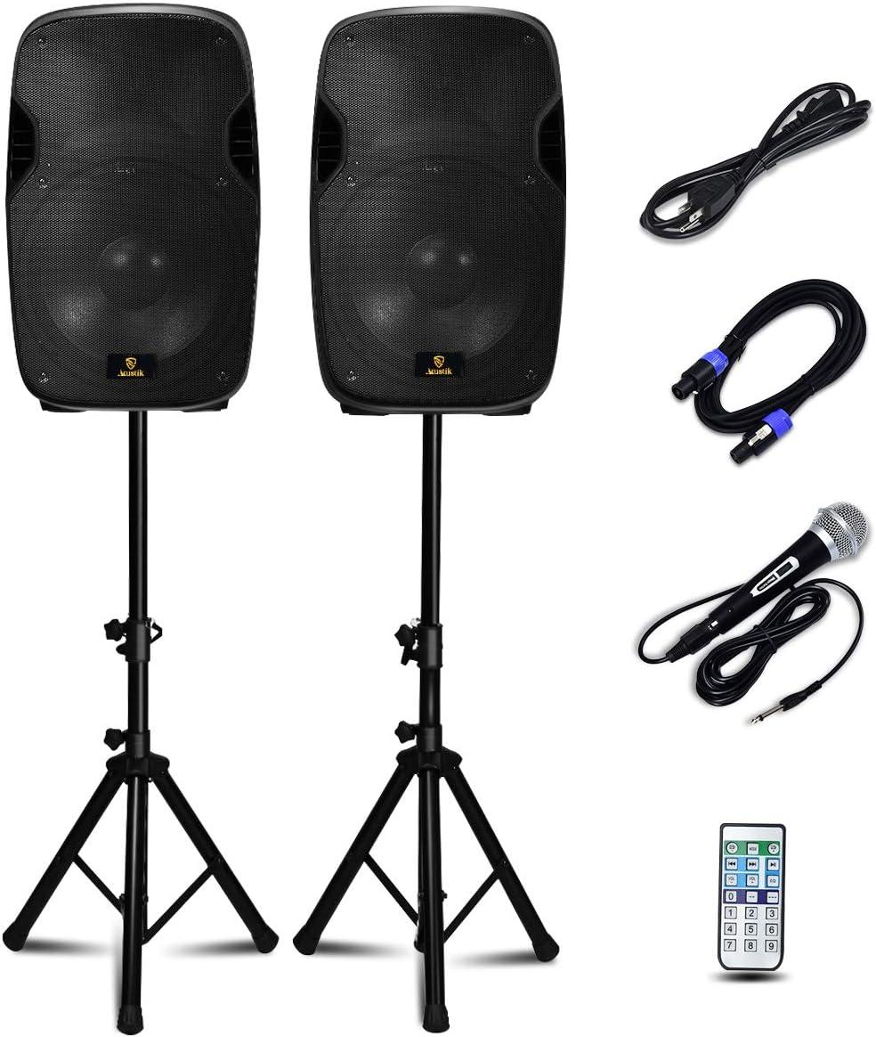 AKUSTIK Dual 2-Way Powered PA Speaker System