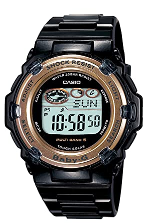 Amazon.com  Casio Women s BGR3000J-1 Baby-G Solar Atomic Black Band ... 693092329b