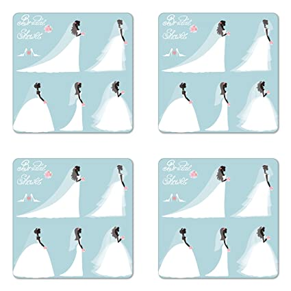 ambesonne bridal shower coaster set of four fashion design traditional wedding bride dress with flowers