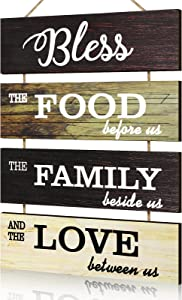 Jetec Bless Hanging Wall Sign, Large Hanging Wall Sign, Rustic Wooden Family Food Love Sign Decor, Hanging Wood Wall Decoration for Living Room Bedroom Outdoor (Retro Color)
