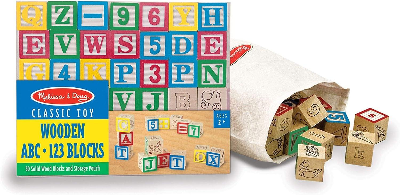 Wooden ABC 123 Building Blocks Kids Alphabet Letters Numbers Bricks Toy Set 30