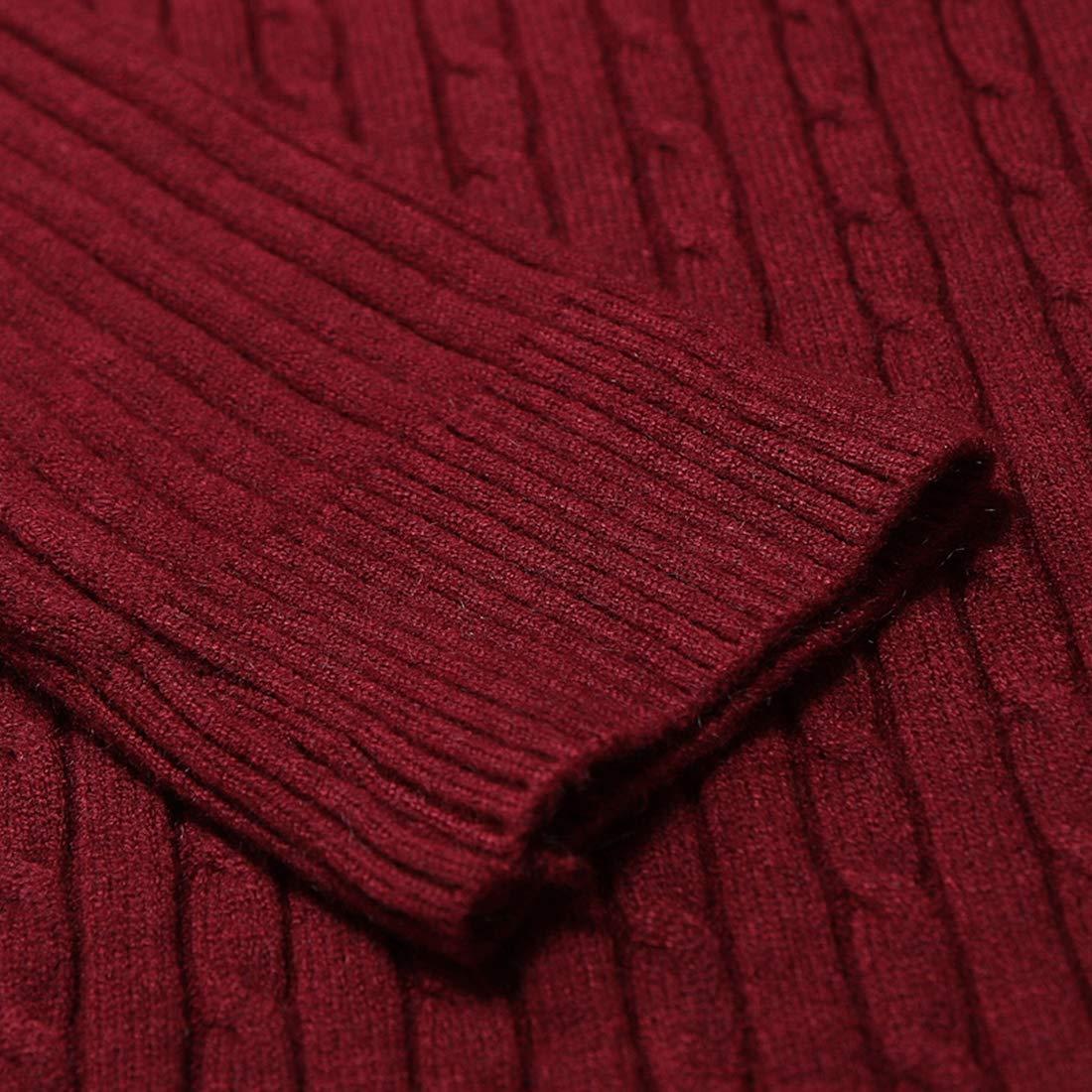 Nanquan Men Winter Slim Fit Twist Turtleneck Ribbed Knit Pullover Sweater