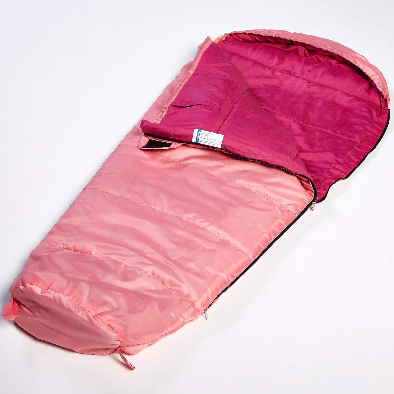 skandika Vegas Junior - Saco Dormir para niñas - 170x70cm - Pink - Funda - -12°C - Cierre de la Cremallera a la Derecha: Amazon.es: Deportes y aire libre