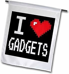 3dRose Dooni Designs Geek Designs - Geeky Old School Pixelated Pixels 8-Bit I Heart I Love Gadgets - 12 x 18 inch Garden Flag (fl_118892_1)