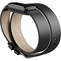 Fitbit Unisex's Luxe,Leather Double Wrap,Black,One Size Accessory Band
