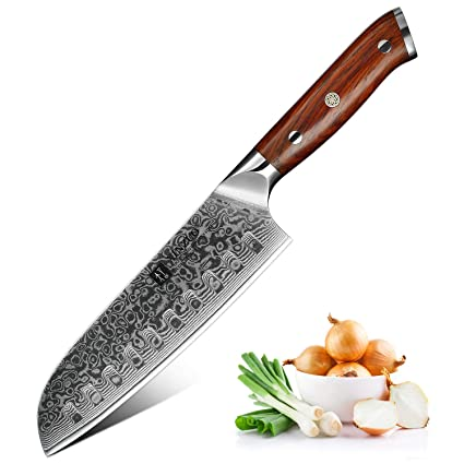 XINZUO Cuchillo de Cocina 17,6cm de Acero Damasco Japonés 67 Capas Profesional Cuchillo de Cocinero con Rosewood Mango - Yu Serie