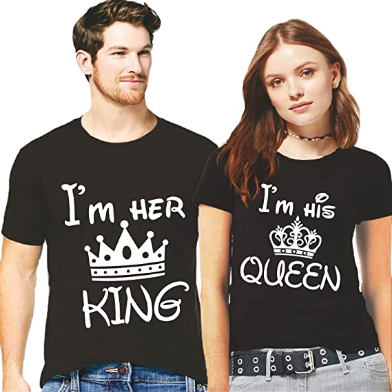 d968946436 Hangout Hub Couple Tshirts I am her King I am his Queen Printed Black Color  Men