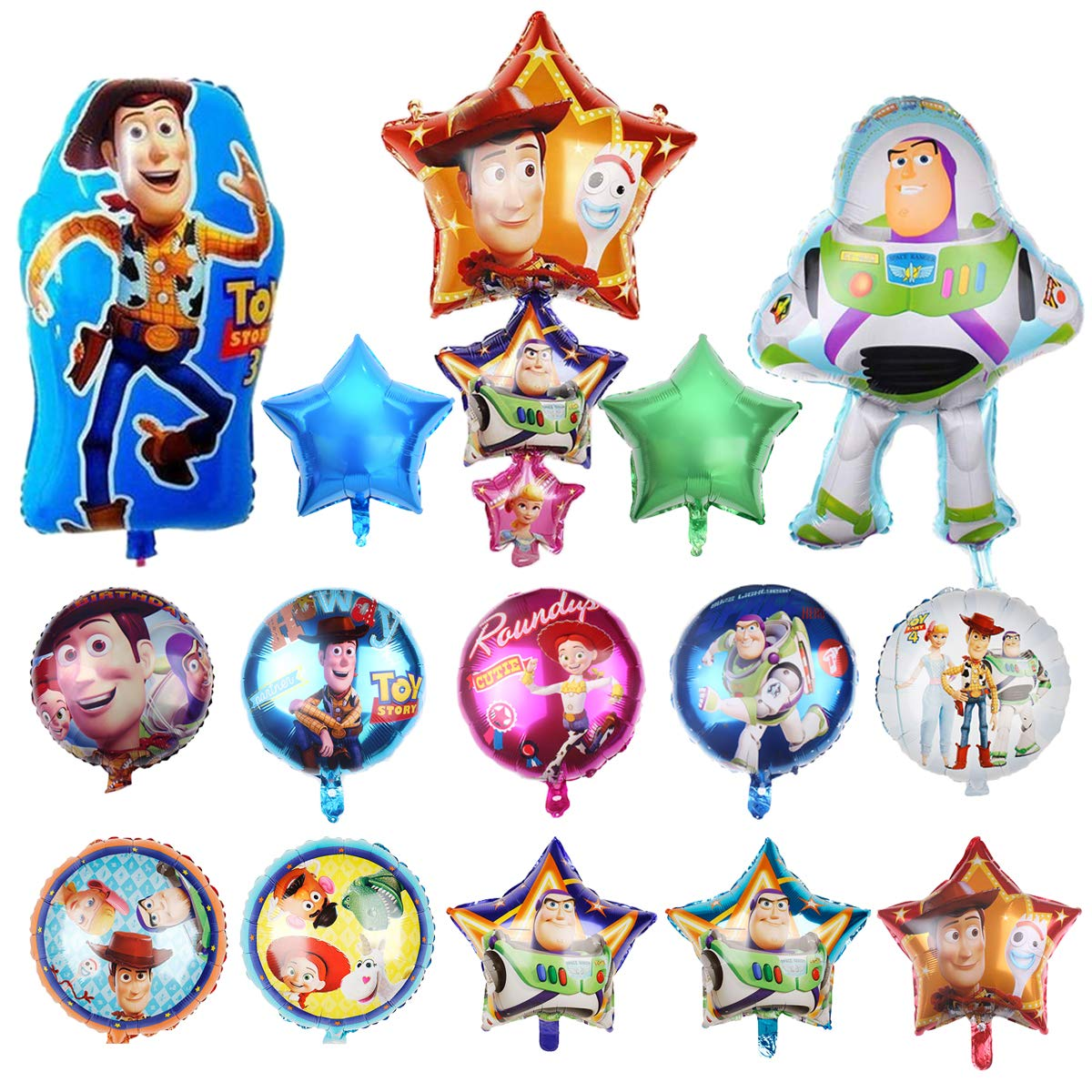 15 Pcs Toy Story Balloons, Woody and Buzz Lightyear Birthday Party Supplies for Kids Baby Shower Party Decorations