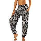 Nuofengkudu Women's Harem Hippie Pants Baggy Boho Patterned High Waist Smocked Waist Thin with Pockets Lounge Trousers for Yoga Summer Beach