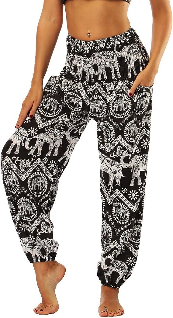 BANJAMATH/® Womens Smocked Waist Harem Hippie Trousers Boho Yoga Bohemian Pants