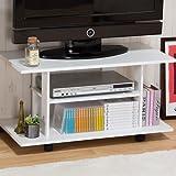 省スペース対応 オープン型 収納ボード テレビ台 【エリーゼ】 32型TV対応 キャスター付き ホワイト色