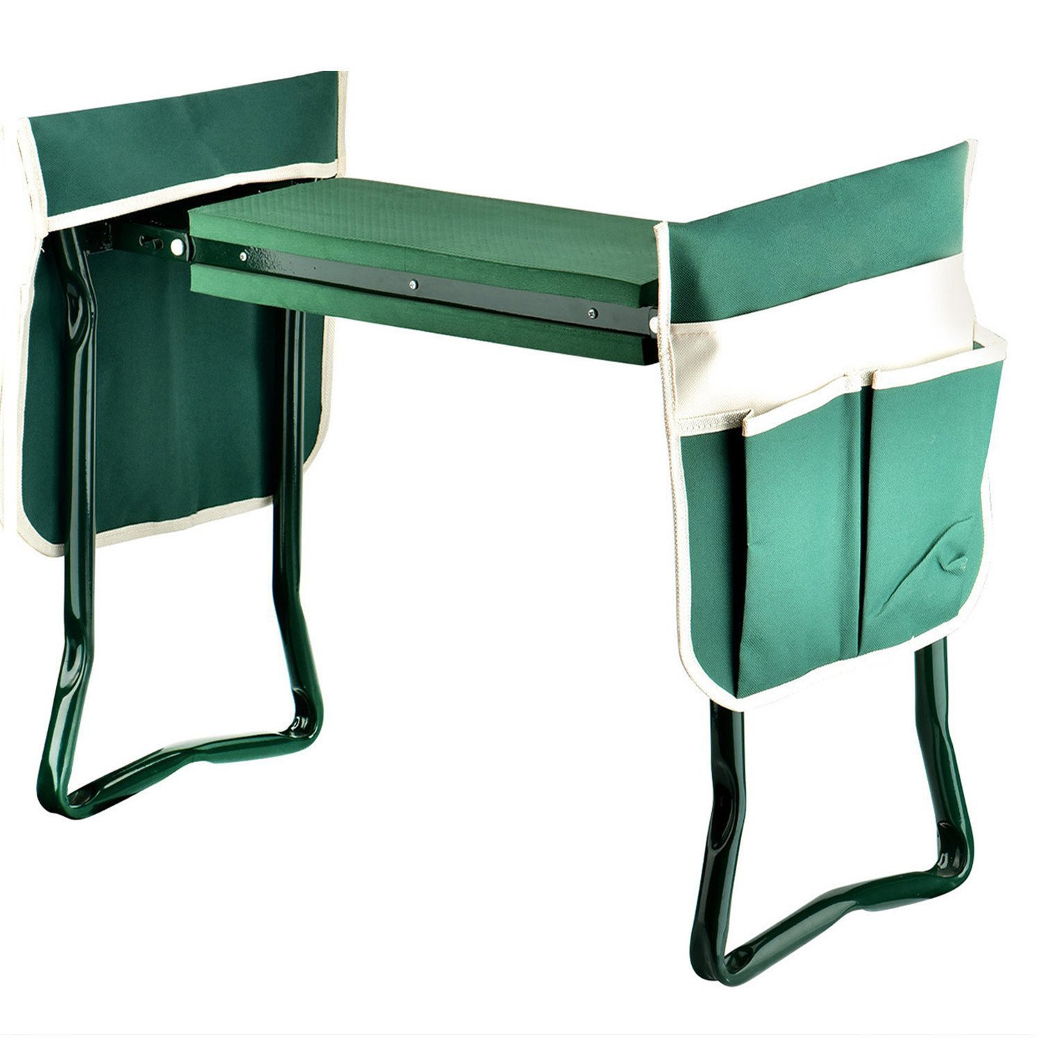 Garden Kneeler Seat,GYMAN Sturdy and Lightweight Garden Folding Bench Stool with EVA Kneeling Pad and Tool Pouch by GYMAN