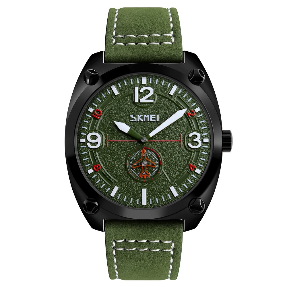 SKMEIカジュアルクオーツ時計3気圧防水メンズウォッチ本革腕時計オスRelogio musculino グリーン B0773JY76F グリーン グリーン