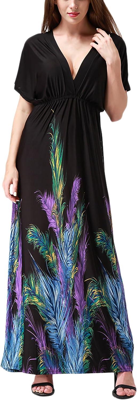 Wantdo Vestido Maxi Largo Estampado para Mujeres de Playa