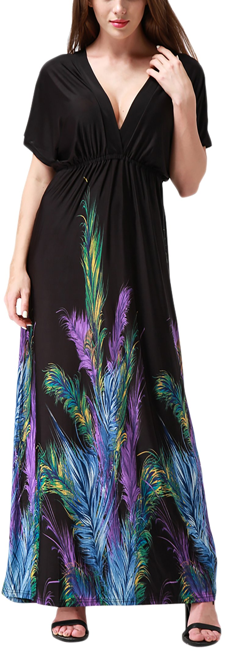 Wantdo Women's Deep V-Neck Maxi Dress Boho Style Backless Casual Long Dresses with Short Sleeves Black Feather L